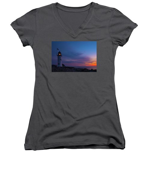 Dawn At Scituate Light Women's V-Neck (Athletic Fit)