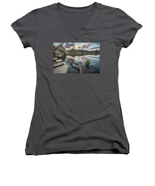 Women's V-Neck T-Shirt (Junior Cut) featuring the photograph Dawn At Sylvan Lake by Adam Romanowicz