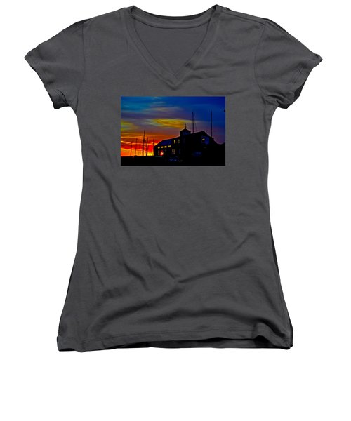 Dawn At The Boatbuilder  Women's V-Neck (Athletic Fit)