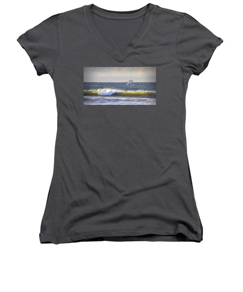Women's V-Neck T-Shirt (Junior Cut) featuring the photograph Dawn Fishermen by Phil Mancuso