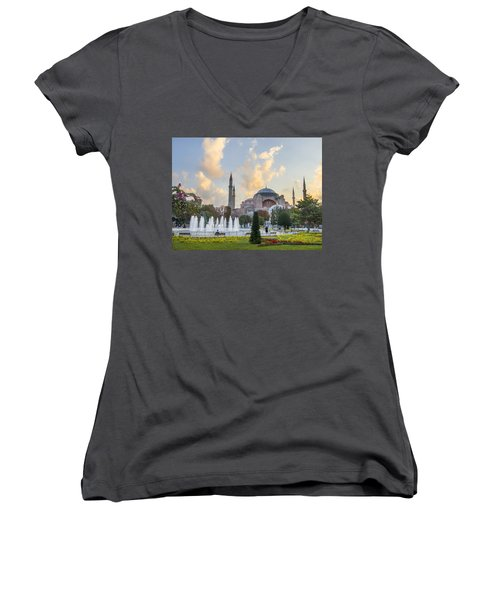 Women's V-Neck T-Shirt (Junior Cut) featuring the photograph Dawn Hagia Sophia Istanbul by Sally Ross
