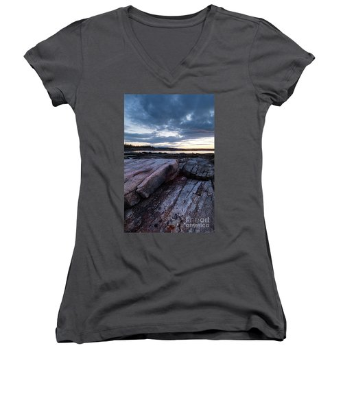 Dawn On The Shore In Southwest Harbor, Maine  #40140-40142 Women's V-Neck