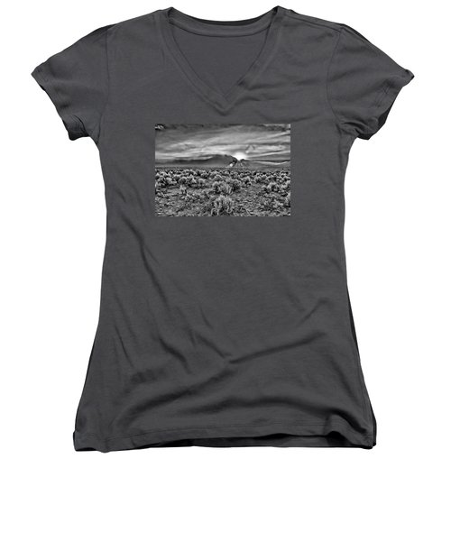 Dawn Over Magic Taos In B-w Women's V-Neck (Athletic Fit)