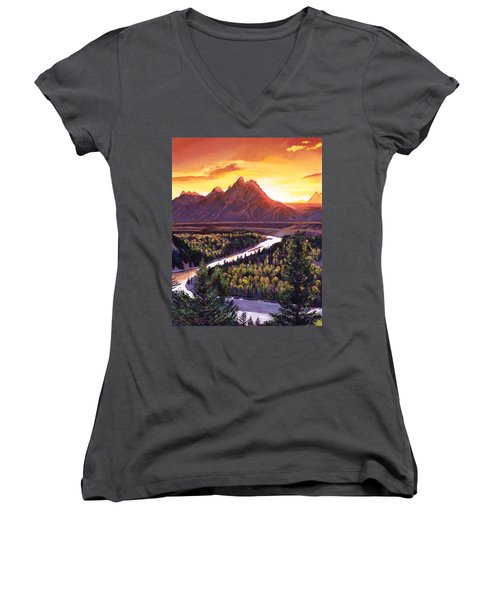 Dawn Over The Grand Tetons Women's V-Neck (Athletic Fit)