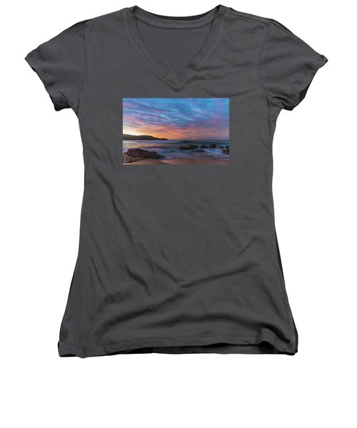 Dawn Seascape With Rocks And Clouds Women's V-Neck