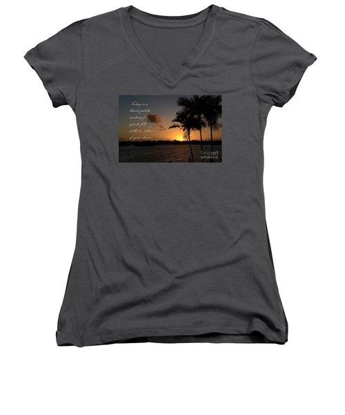 Women's V-Neck T-Shirt (Junior Cut) featuring the photograph Dawn's Blank Palette by Pamela Blizzard