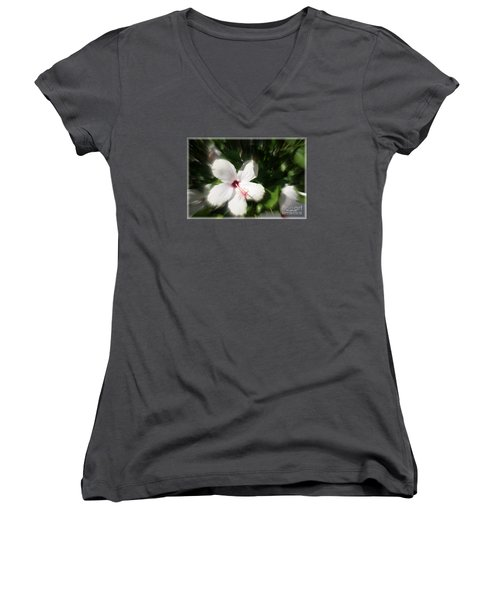 Women's V-Neck T-Shirt (Junior Cut) featuring the photograph Dawns Flower Of The Morning by Sherri  Of Palm Springs