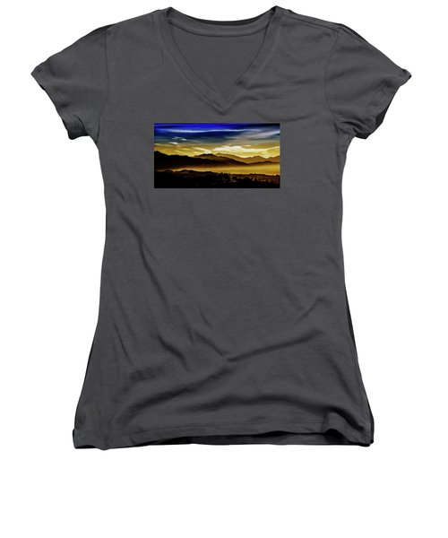 Women's V-Neck T-Shirt (Junior Cut) featuring the photograph Day Break 2a1 by Joseph Hollingsworth