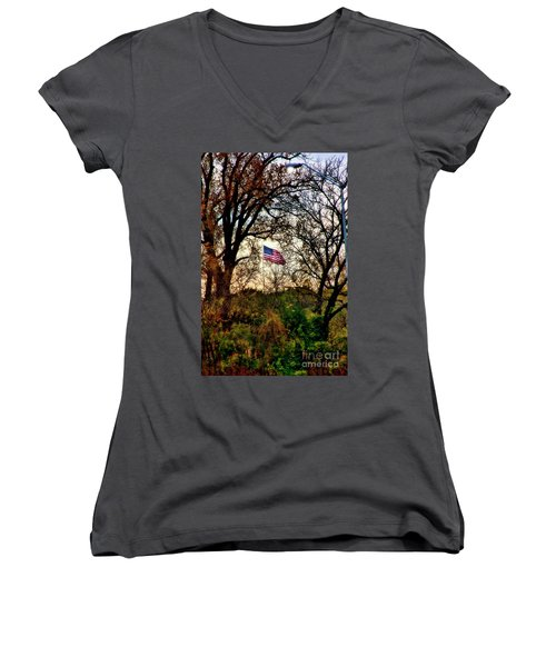 Day Is Done Women's V-Neck T-Shirt (Junior Cut) by Joan Bertucci