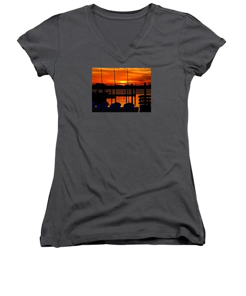 Women's V-Neck T-Shirt (Junior Cut) featuring the photograph Day Is Done by Laura Ragland