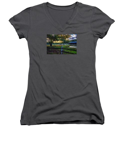 Day Is Nearly Done Women's V-Neck T-Shirt (Junior Cut) by Tricia Marchlik
