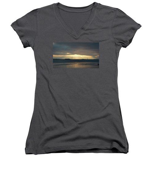 Daybreak Charleston Women's V-Neck T-Shirt (Junior Cut) by Ed Waldrop