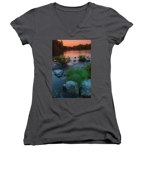 Daybreak Over The Old Reverbed Women's V-Neck (Athletic Fit)