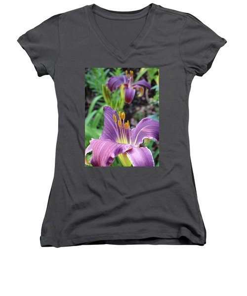 Daylilies In Purple Women's V-Neck T-Shirt (Junior Cut) by Rebecca Overton