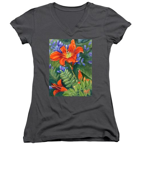 Women's V-Neck T-Shirt (Junior Cut) featuring the painting Daylilies by Renate Nadi Wesley