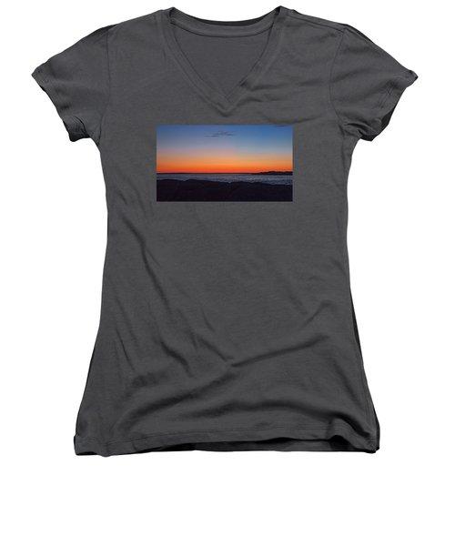 Women's V-Neck T-Shirt (Junior Cut) featuring the photograph Days Pre Dawn by  Newwwman