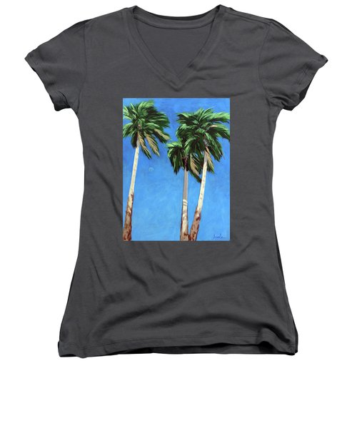 Women's V-Neck T-Shirt (Junior Cut) featuring the painting Daytime Moon In Palm Springs by Linda Apple