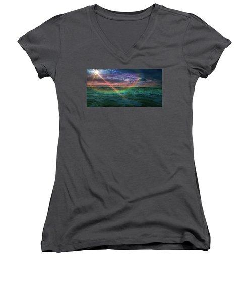 Daytona Rainbow Women's V-Neck T-Shirt