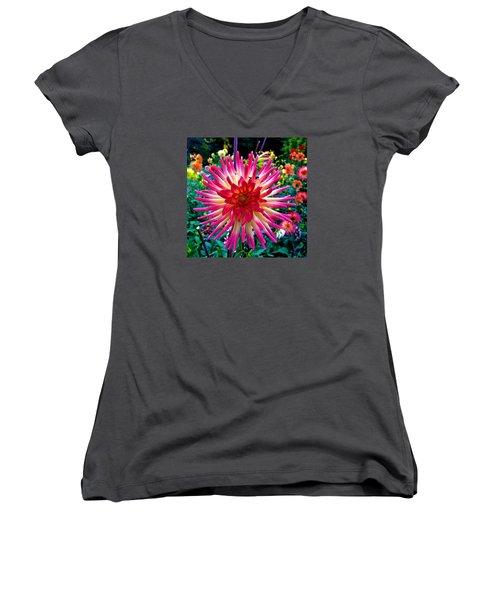 Dazzling Dahlia  Women's V-Neck T-Shirt