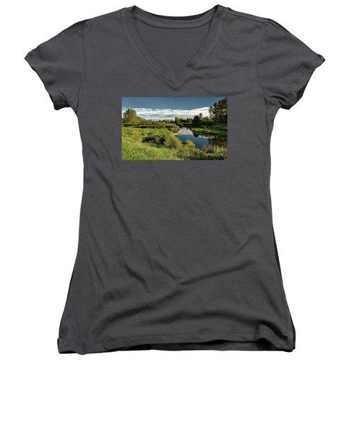 De Boville Slough At Pitt River Dike Women's V-Neck T-Shirt (Junior Cut) by Rod Jellison
