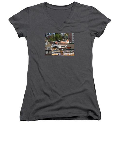 De Havilland Beaver Is Airborne Women's V-Neck T-Shirt (Junior Cut) by Allan Levin