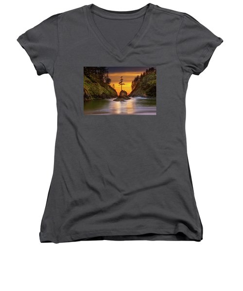 Deadman's Cove At Cape Disappointment State Park Women's V-Neck (Athletic Fit)