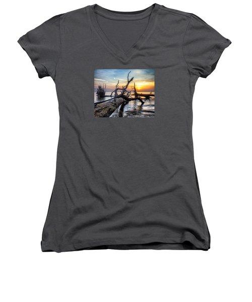 Deadwood Morning Women's V-Neck T-Shirt (Junior Cut) by Alan Raasch