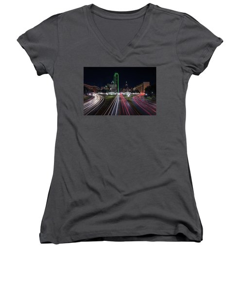 Dealey Plaza Dallas At Night Women's V-Neck T-Shirt