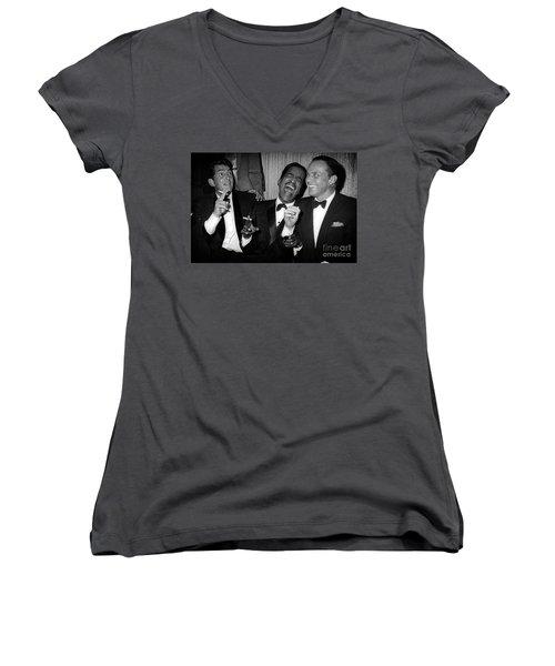 Dean Martin, Sammy Davis Jr. And Frank Sinatra Laughing Women's V-Neck