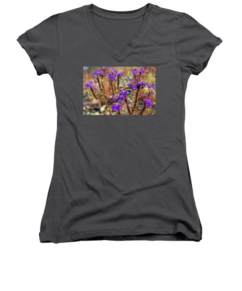 Women's V-Neck T-Shirt (Junior Cut) featuring the photograph Death Valley Superbloom 106 by Daniel Woodrum