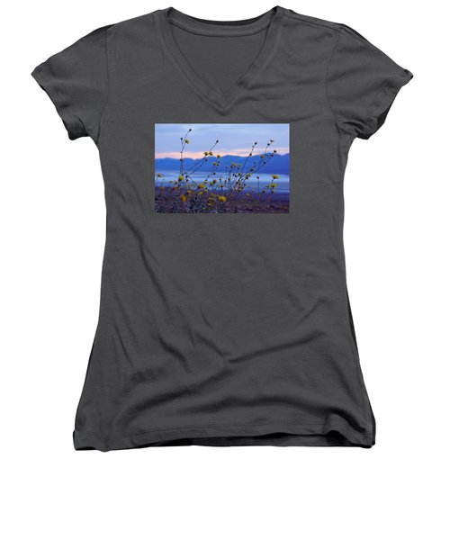 Women's V-Neck T-Shirt (Junior Cut) featuring the photograph Death Valley Superbloom 304 by Daniel Woodrum