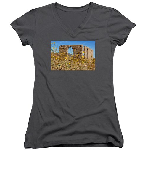 Women's V-Neck T-Shirt (Junior Cut) featuring the photograph Death Valley Superbloom 404 by Daniel Woodrum