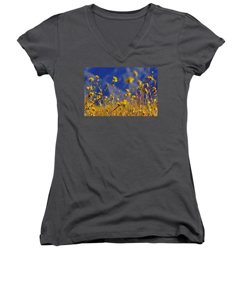 Women's V-Neck T-Shirt (Junior Cut) featuring the photograph Death Valley Superbloom 505 by Daniel Woodrum