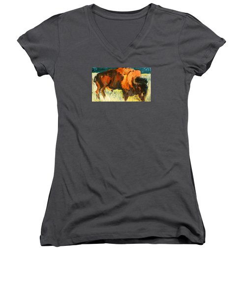 Debbie's Postcard Buffalo Women's V-Neck T-Shirt