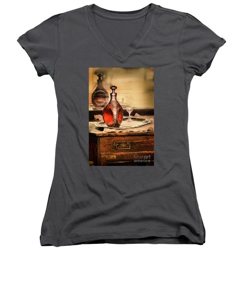 Decanter And Glass Women's V-Neck T-Shirt (Junior Cut) by Jill Battaglia