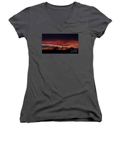 Women's V-Neck T-Shirt (Junior Cut) featuring the photograph December 2016 Farm Sunset by J L Zarek