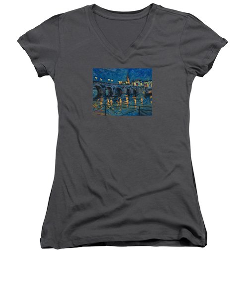 December Lights Old Bridge Maastricht Women's V-Neck T-Shirt (Junior Cut) by Nop Briex