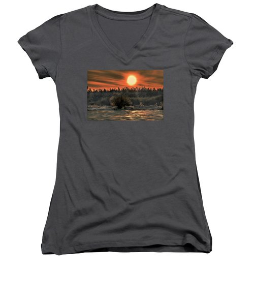 December Sun #f3 Women's V-Neck T-Shirt (Junior Cut) by Leif Sohlman