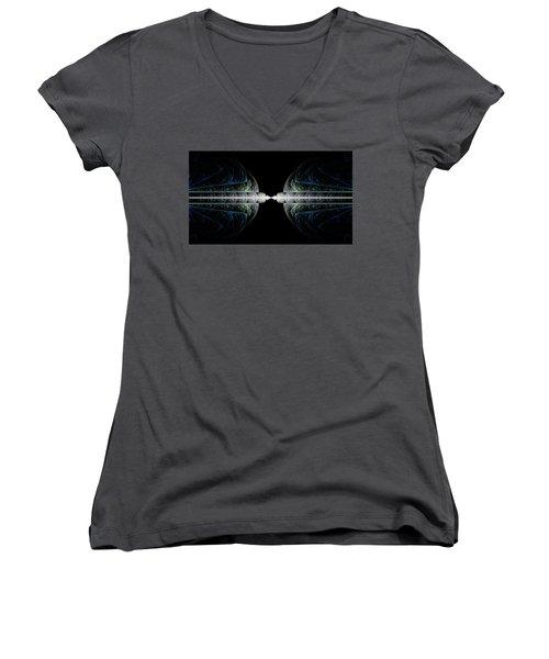Women's V-Neck T-Shirt (Junior Cut) featuring the digital art Deco And Diamonds by Lea Wiggins