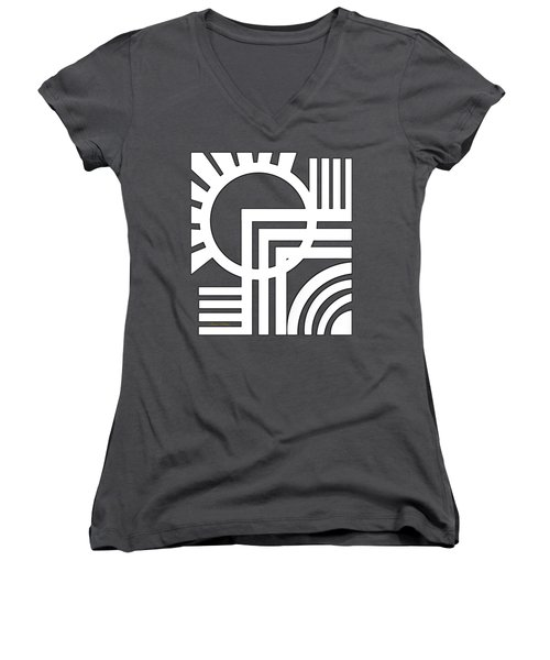 Deco Design White Women's V-Neck T-Shirt (Junior Cut) by Chuck Staley