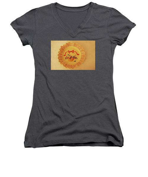 Women's V-Neck T-Shirt (Junior Cut) featuring the photograph Decorated Plate With A Basket And Flowers by Itzhak Richter