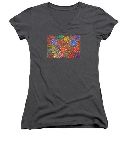Decorative Flowers Women's V-Neck T-Shirt (Junior Cut) by Rita Fetisov