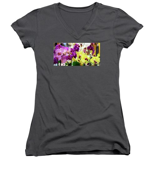Decorative Orchids Still Life B82418 Women's V-Neck