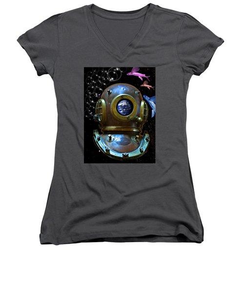 Deep Diver In Delirium Of Blue Dreams Women's V-Neck T-Shirt (Junior Cut) by Pedro Cardona