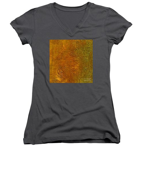 Women's V-Neck T-Shirt (Junior Cut) featuring the mixed media Deep Gold by Michael Rock