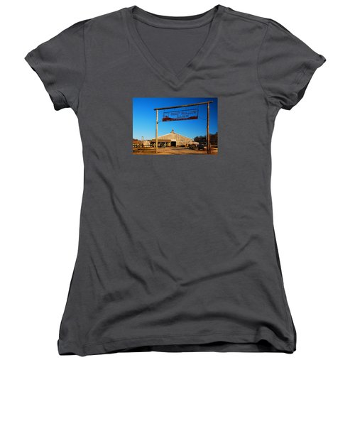 Women's V-Neck T-Shirt (Junior Cut) featuring the photograph Deep Hollow Ranch  by James Kirkikis