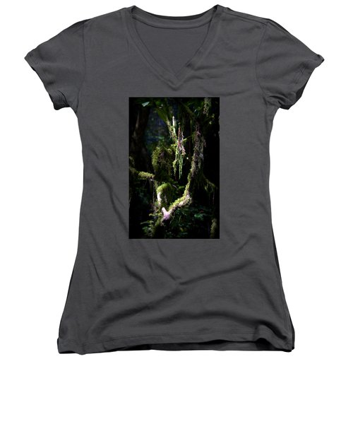Women's V-Neck T-Shirt (Junior Cut) featuring the photograph Deep In The Forest by Lori Seaman