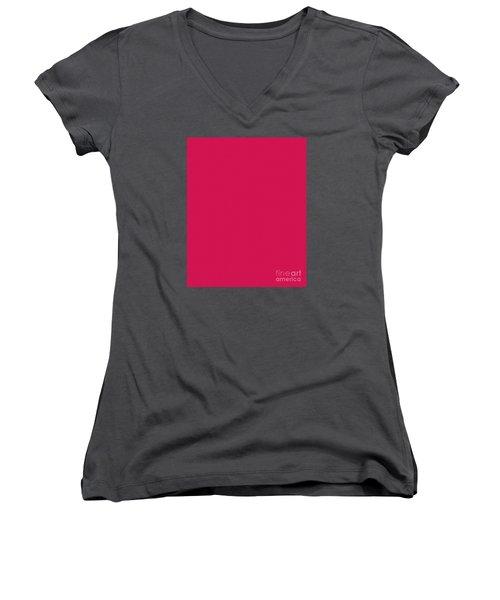 Deep Pink Textured Women's V-Neck T-Shirt