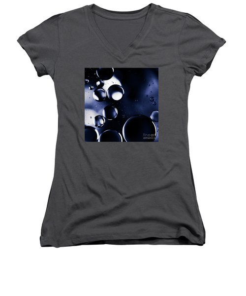 Women's V-Neck T-Shirt (Junior Cut) featuring the photograph deep purple blue tones Macro Water Droplets by Sharon Mau