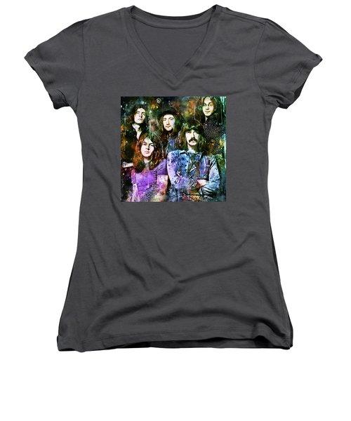 Deep Purple Together Women's V-Neck (Athletic Fit)